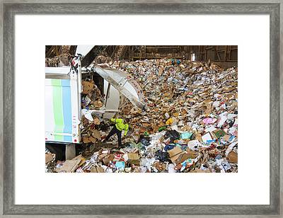 Waste Arriving At A Recycling Centre Framed Print by Peter Menzel