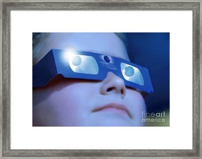 Watching Solar Eclipse Framed Print