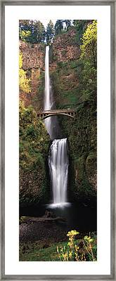 Waterfall In A Forest, Multnomah Falls Framed Print
