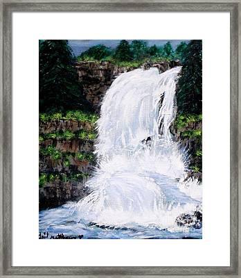 Waterfalls At Rock Canyon Framed Print