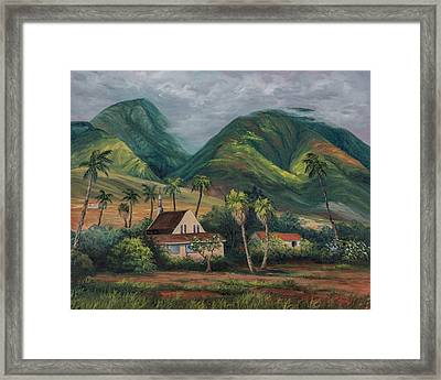 Framed Print featuring the painting West Maui Mountains by Darice Machel McGuire
