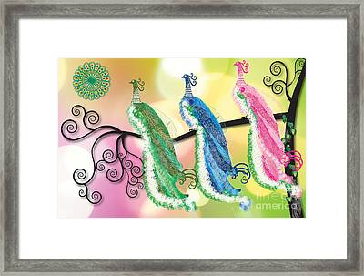 Visionary Peacocks Framed Print by Kim Prowse