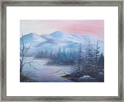 Winter In The Mountains Framed Print by Glenda Barrett