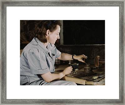 Woman Creates Parts For Blood Framed Print