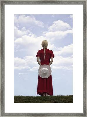 Woman In Red Framed Print by Joana Kruse
