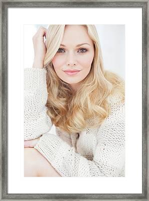 Woman Wearing Sweater Framed Print