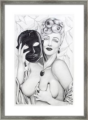Woman With Mask Framed Print by Joseph Sonday