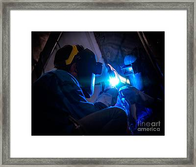 Worker Welding  Framed Print