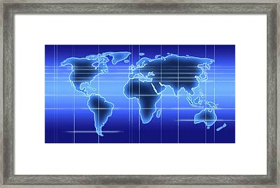 World Map Illustration With Time Zones Framed Print by Alfred Pasieka