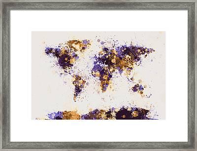 World Map Paint Splashes Framed Print
