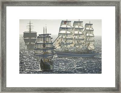 3 X Tall Ships Framed Print by Gilles Martin-Raget