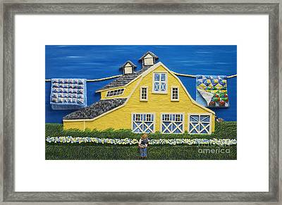 Framed Print featuring the sculpture Yellow Barn by Anne Klar