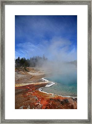Yellowstone Park Geyser Framed Print by Frank Romeo