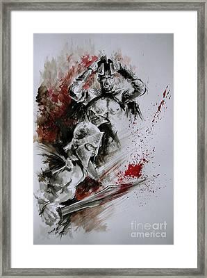 300 Spartan - Death And Glory. Framed Print by Mariusz Szmerdt