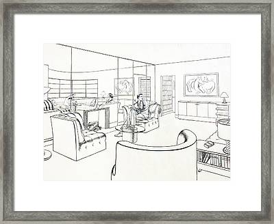 Moderne Man Cave Framed Print by Robert Poole