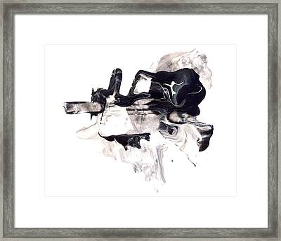 Mind Flow - Black And White Abstract Painting Framed Print by Modern Art Prints