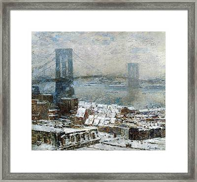Brooklyn Bridge In Winter Framed Print by Childe Hassam