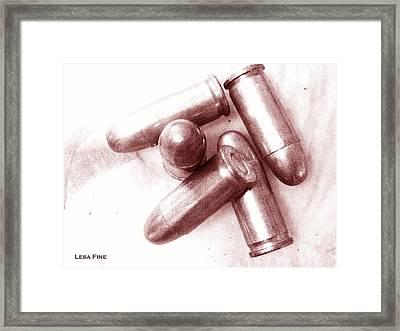 Bullet Art - 32 Caliber Bullets_1 Framed Print by Lesa Fine