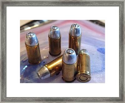 Bullet Art 32 Caliber Hollow Points 1c Framed Print by Lesa Fine