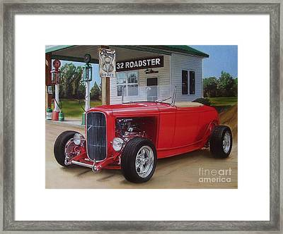 32 Ford At Filling Station Framed Print by Paul Kuras