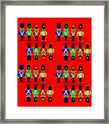 32 Nutcracker Soldiers On Red Framed Print by Asbjorn Lonvig