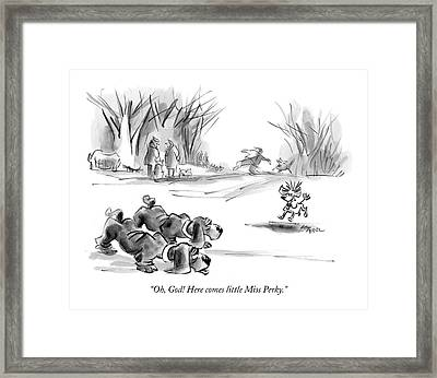 Oh, God! Here Comes Little Miss Perky Framed Print by Lee Lorenz