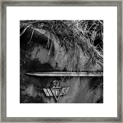 327 Flag Emblem In Black And White Framed Print by Greg Mimbs