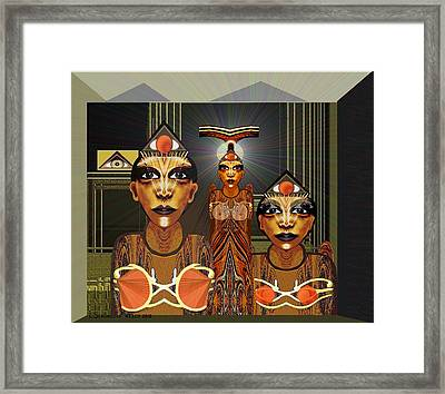 338 - Aliens With Egyptian Touch Framed Print by Irmgard Schoendorf Welch