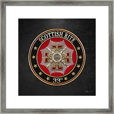 33rd Degree - Inspector General Jewel On Black Leather Framed Print