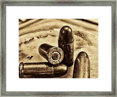 3415 Bullet Art Goldtone Framed Print by Lesa Fine