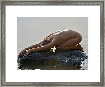 3427 Nude On Lake Superior Rock  Framed Print