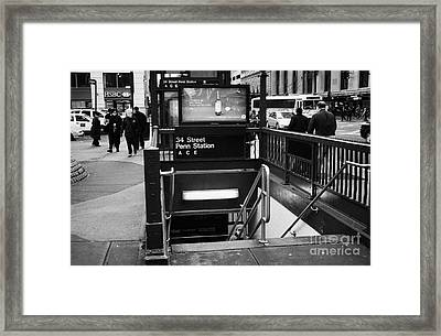 34th Street Entrance To Penn Station Subway New York City Framed Print by Joe Fox