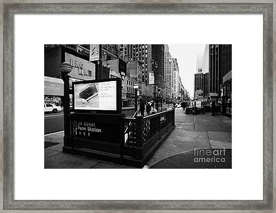 34th Street Entrance To Penn Station Subway New York City Usa Framed Print by Joe Fox