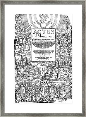 Foxe Book Of Martyrs Framed Print