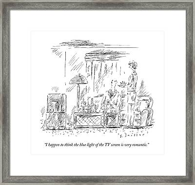 I Happen To Think The Blue Light Of The Tv Screen Framed Print by Barbara Smaller