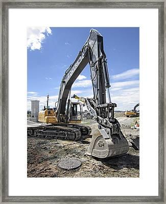 350g Deere Backhoe Framed Print by Daniel Hagerman