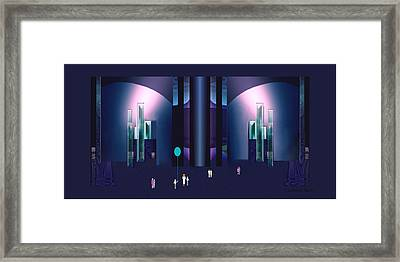 352 - Magic   City Night Framed Print by Irmgard Schoendorf Welch