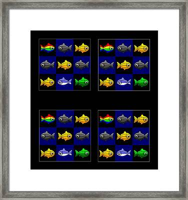 36 Trouts In The Golden Temple Lake In Kyoto On Brown Framed Print by Asbjorn Lonvig