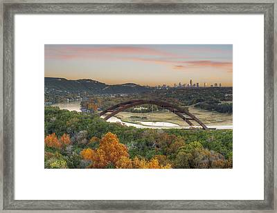 360 Bridge And The Austin Skyline In Autumn Framed Print by Rob Greebon