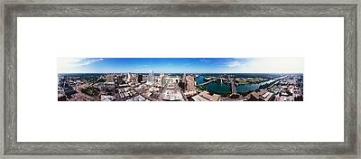 360 Degree View Of A City, Austin Framed Print
