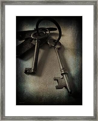 Vintage Keys Vignette Framed Print