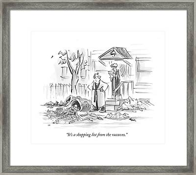 It's A Shopping List From The Raccoons Framed Print by Lee Lorenz