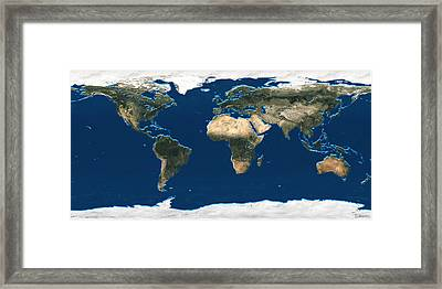 3d Earth At A Glance - Satellite Image Of The World Framed Print