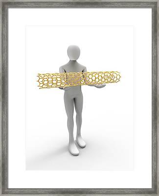 3d Human Holding A Carbon Nanotube Framed Print