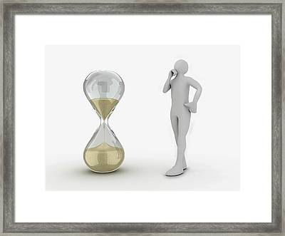 3d Human Looking At Hourglass Framed Print