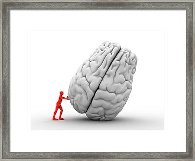 3d Man Moving Brain Framed Print by Alfred Pasieka