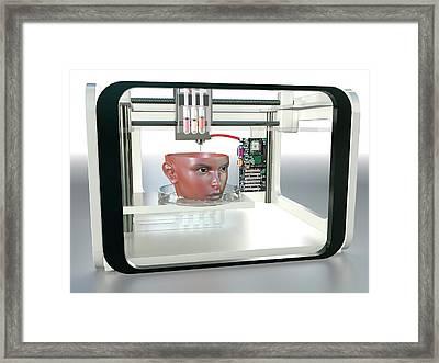 3d Printed Face Framed Print by Christian Darkin