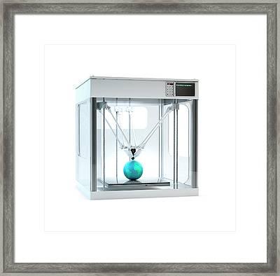 3d Printer Printing Globe Framed Print by Andrzej Wojcicki
