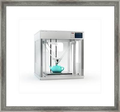 3d Printer Printing Teapot Framed Print by Andrzej Wojcicki