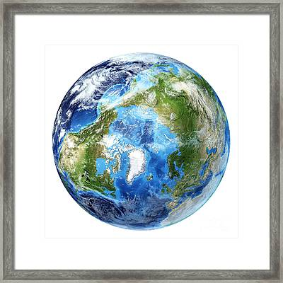 3d Rendering Of Planet Earth, Arctic Framed Print